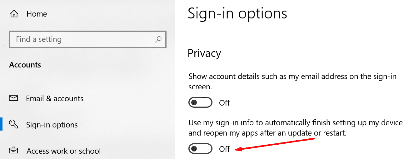 disable sign-in info after update or restart