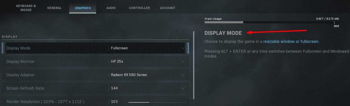 display mode settings gaming