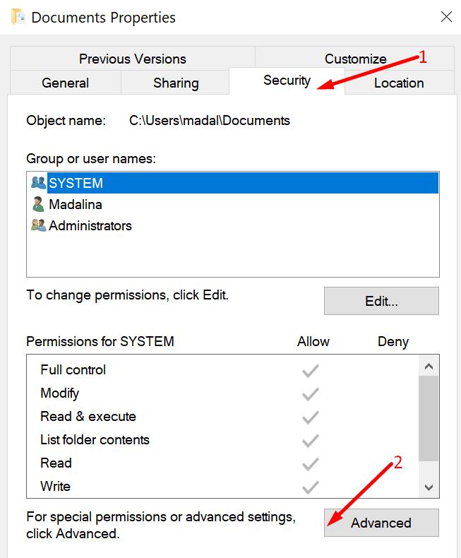 documents folder properties security