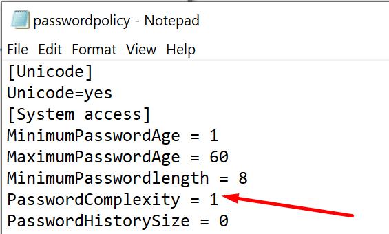 edit password complexity