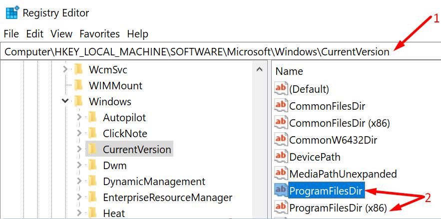 edit programfilesdir registry editor