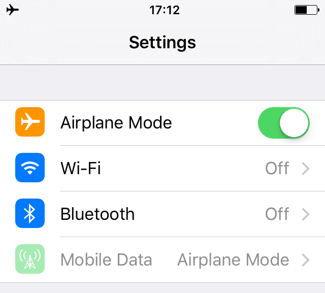 enable airplane mode iphone