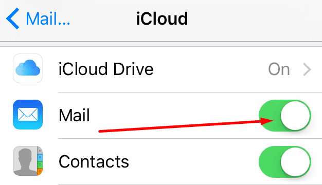 enable disable mail iphone