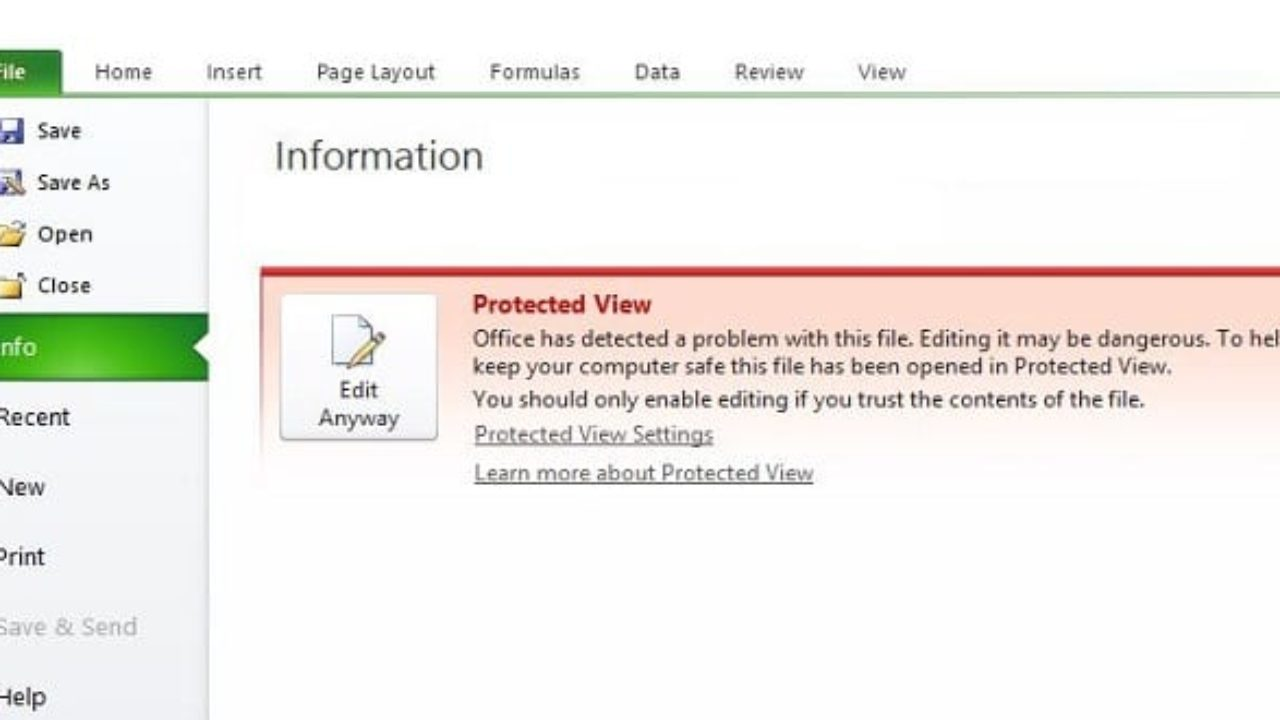 Excel This File Couldn't Open in Protected View   Technipages