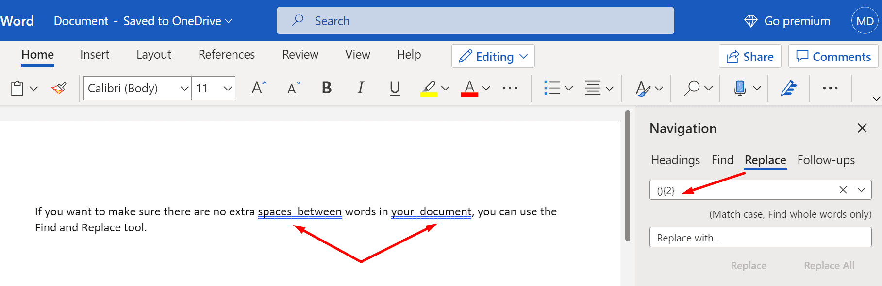 find extra spaces between words microsoft word