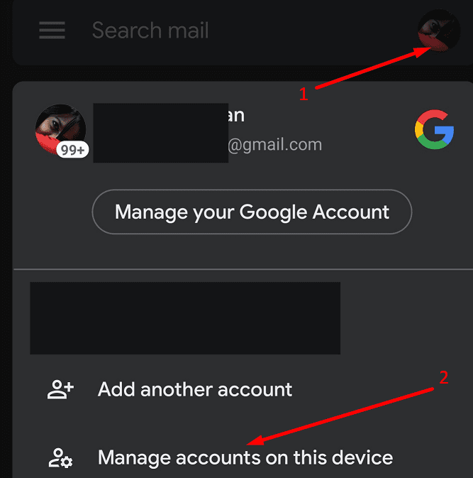 gmail manage accounts on this device