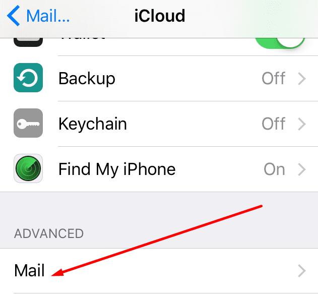 icloud mail advanced settings