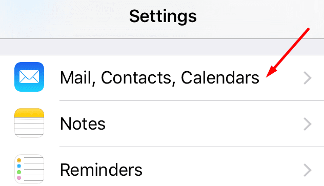 iphone mail contacts calendars