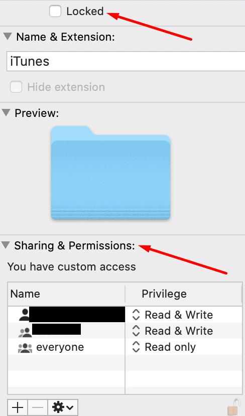 itunes permissions