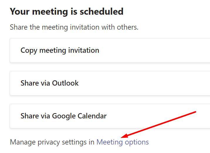 meeting options microsoft teams