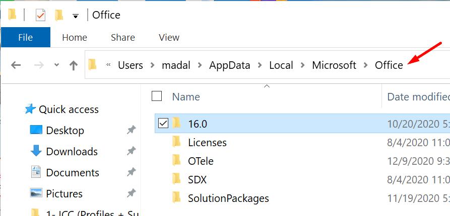 microsoft office local folder