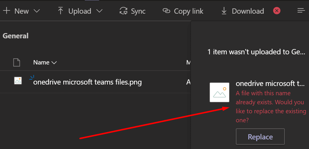 microsoft team a file with this name already exists error