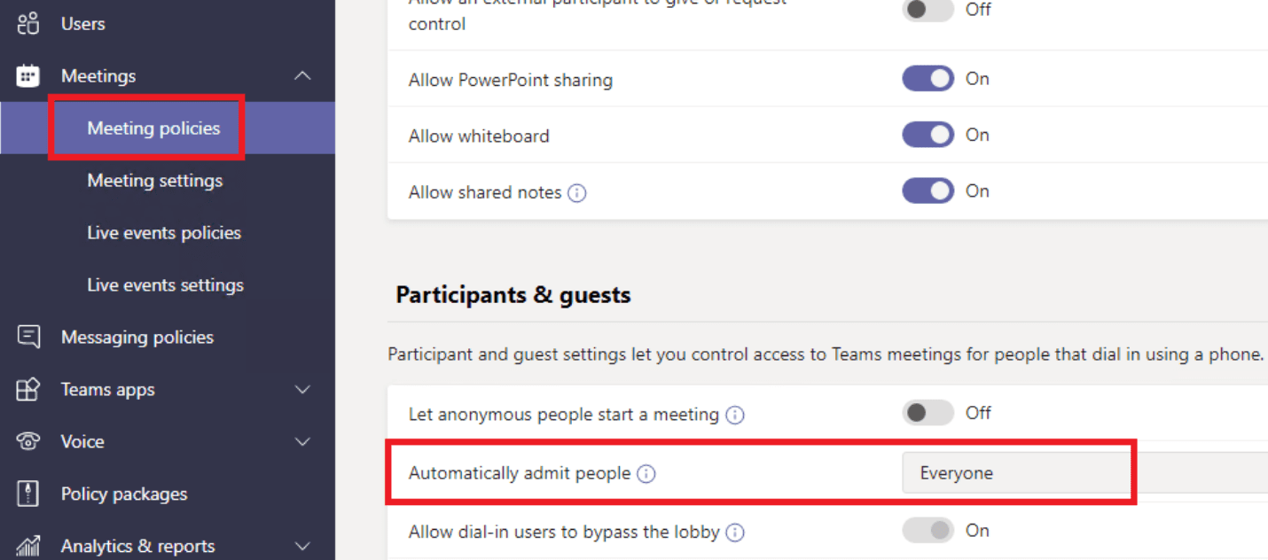 microsoft teams automatically admit people