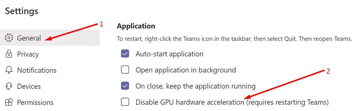 microsoft teams disable GPU hardware acceleration