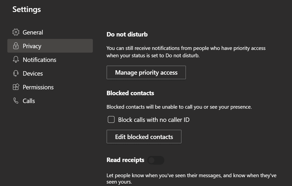 microsoft teams privacy settings