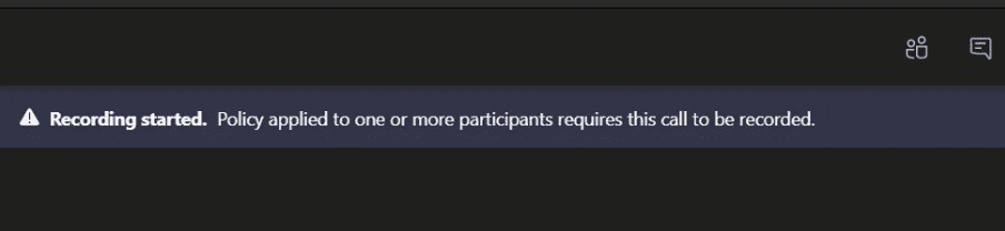 microsoft teams recording started policy applied