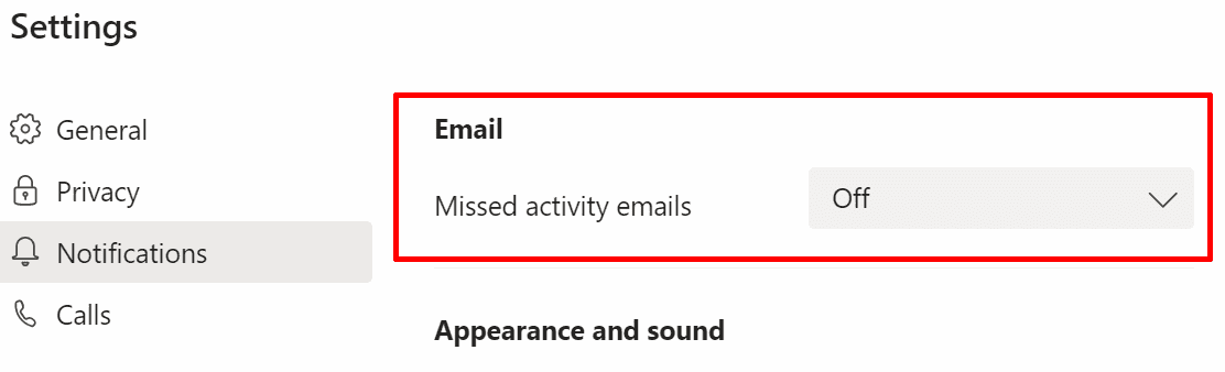 ms teams disable missed activity emails