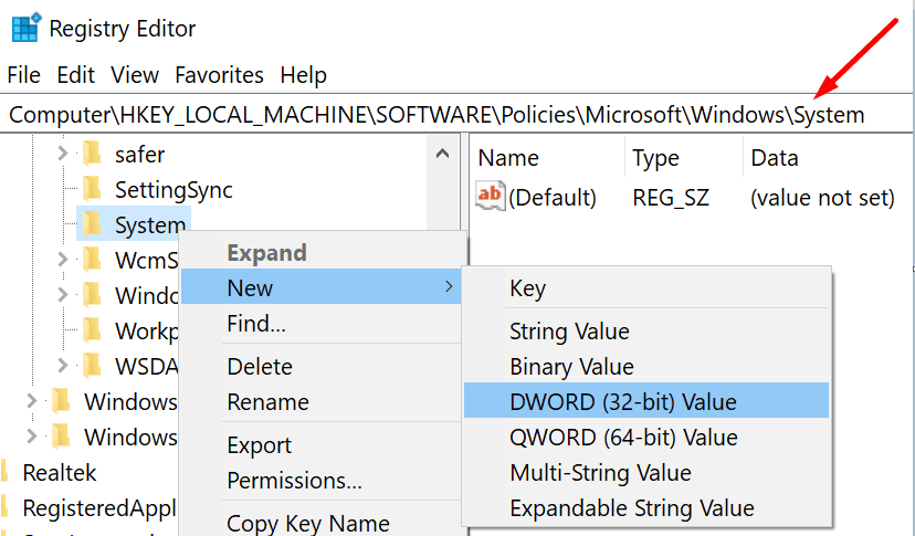 new-system-dword-value-regedit
