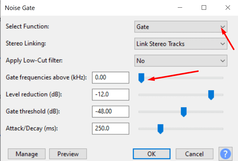 noise gate settings audacity