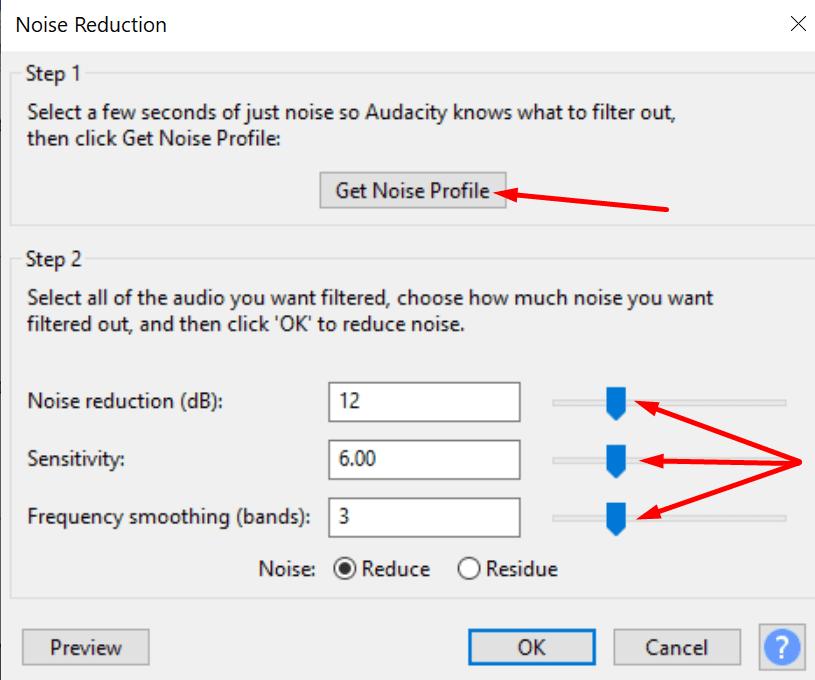 noise reduction options audacity
