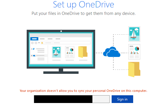 organization does not allow you to sync personal OneDrive on computer
