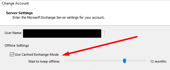 outlook cached exchange mode