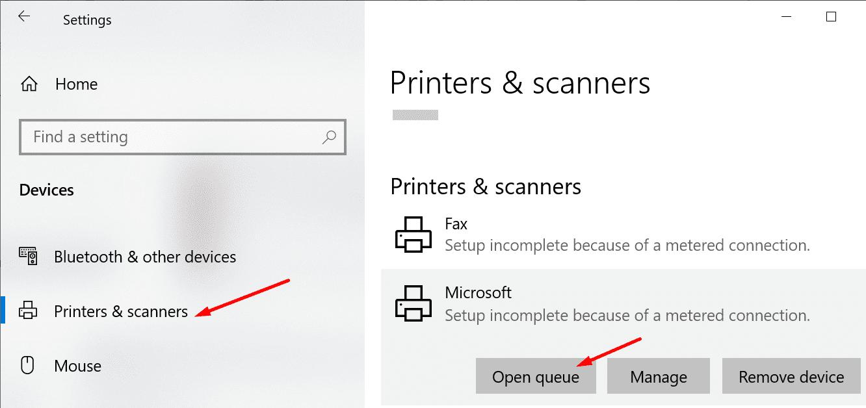 printer open queue