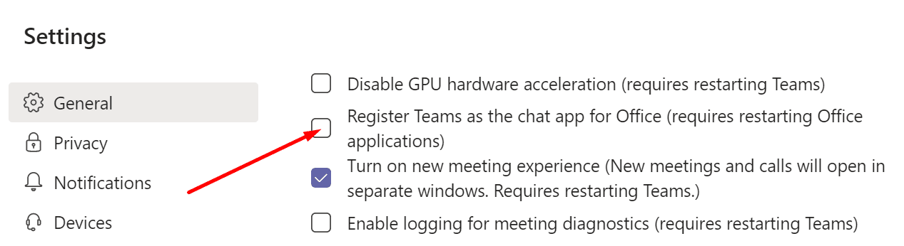 register teams as the chat app for office
