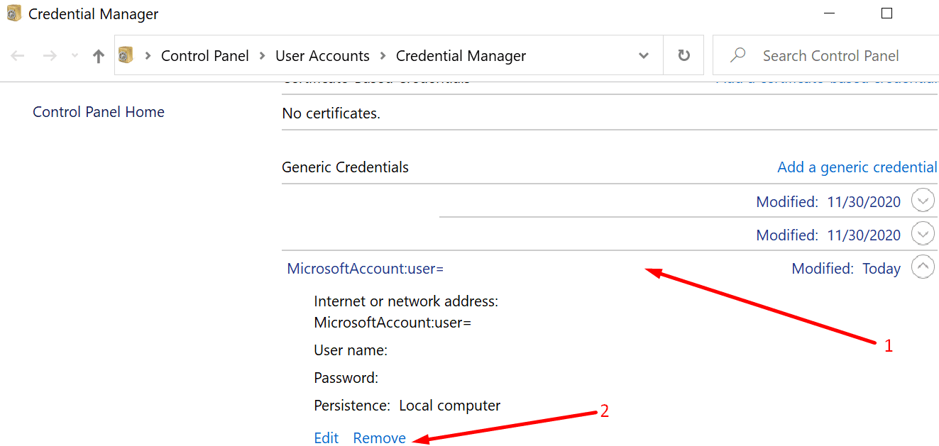remove microsoft account credential manager