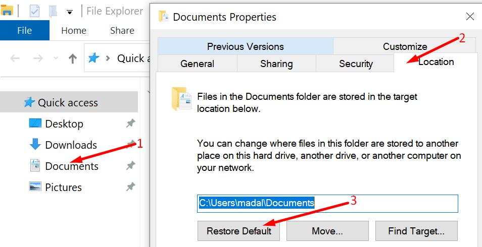 restore default documents folder