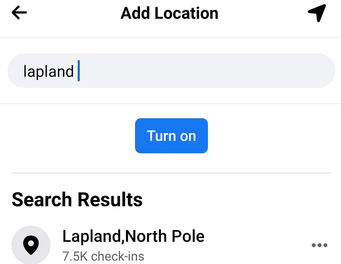 search for check in location facebook