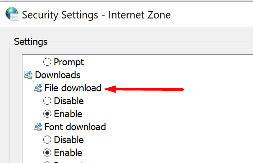 security settings file download enable