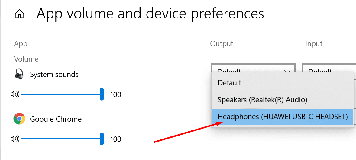 set headphones as output default device chrome