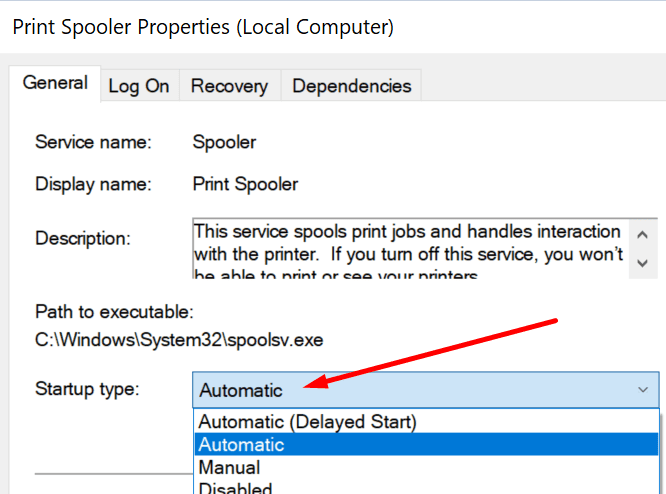 set print spooler startup type to automatic