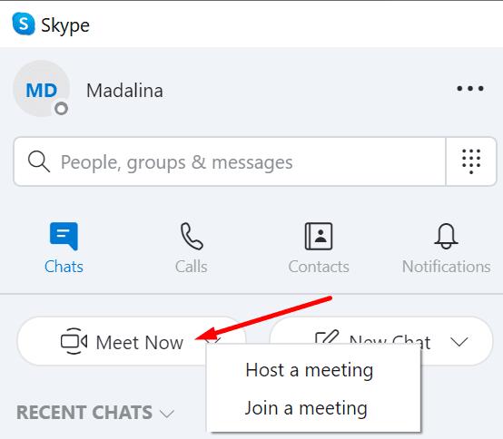 skype meet now host join meeting