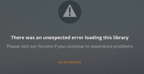 Plex: There Was an Unexpected Error Loading This Library
