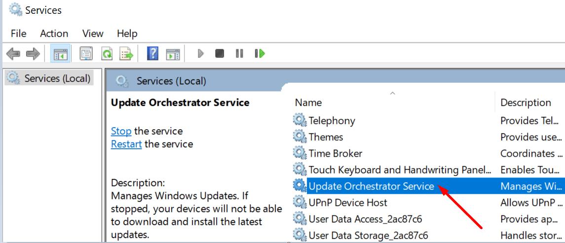 update orchestrator service windows 10