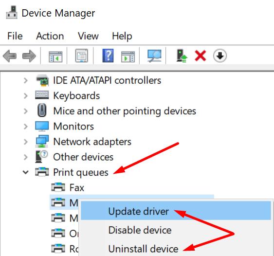 update print drivers