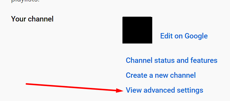 view advanced settings youtube channel