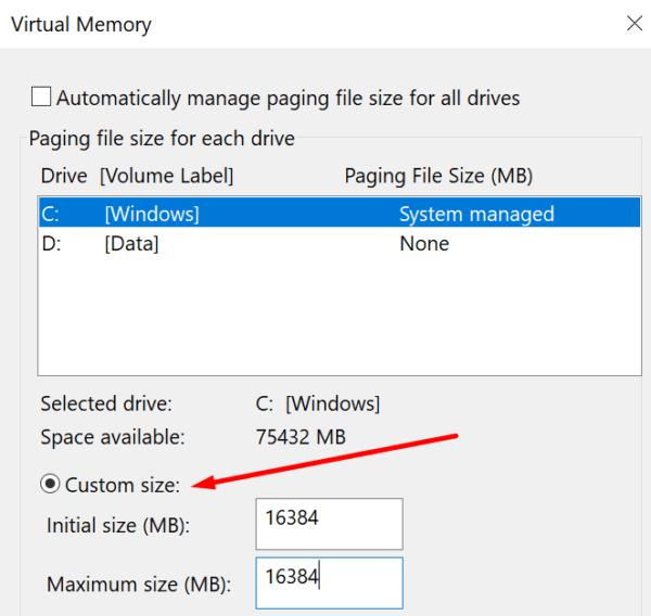 virtual memory custom size