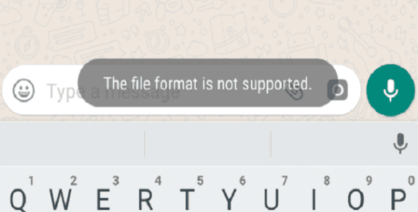 WhatsApp: The File Format is Not Supported