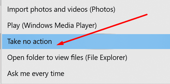 windows 10 autoplay no action iphone
