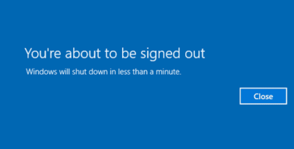 Windows 10: Disable You're About to Be Signed Out