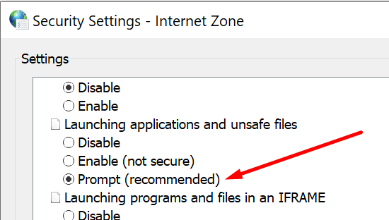 windows 10 prompt when launching applications and unsafe files