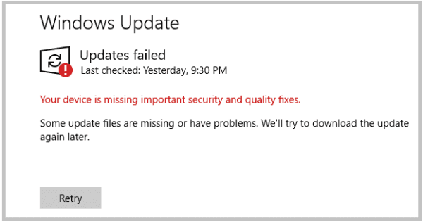 Windows 10: Device is Missing Important Updates