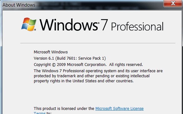 windows 7 service pack information