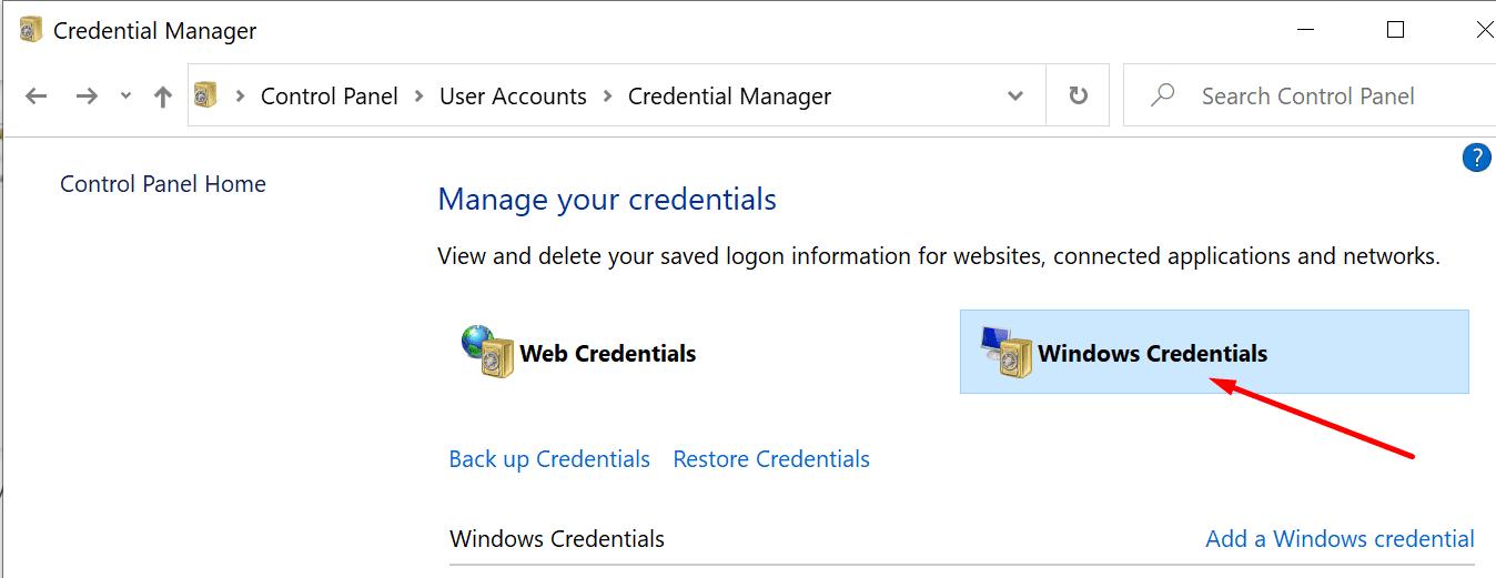 windows credentials pc