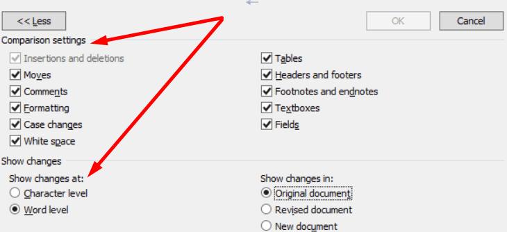 word combine documents settings