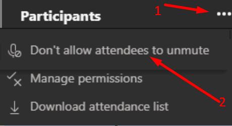 Jangan izinkan peserta untuk menyuarakan tim