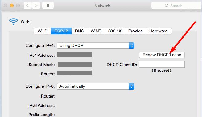 Renew DHCP Lease mac